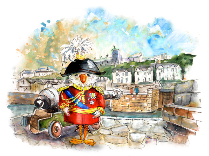 The Seagulls Of Porthleven 03 - Painting ©2018 by Miki de Goodaboom -                                                                                                        Expressionism, Illustration, Impressionism, Architecture, Birds, Humor, Travel, England, Cornwall, Pothleven, birds, bird, seagull, seagulls, townscape, seascape, army, admiral, seagull admiral, canon, harbour