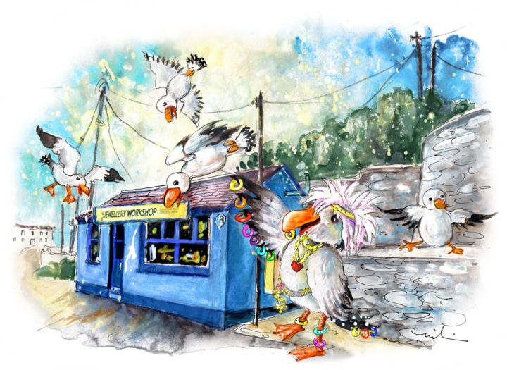 The Seagulls Of Porthleven 04 - Painting ©2018 by Miki de Goodaboom -                                                                                            Expressionism, Illustration, Architecture, Birds, Humor, Travel, England, Cornwall, Porthleven, bird, birds, seagull, seagulls, jewels, jewellery workshop, harbour, whimsical art, humour, fun