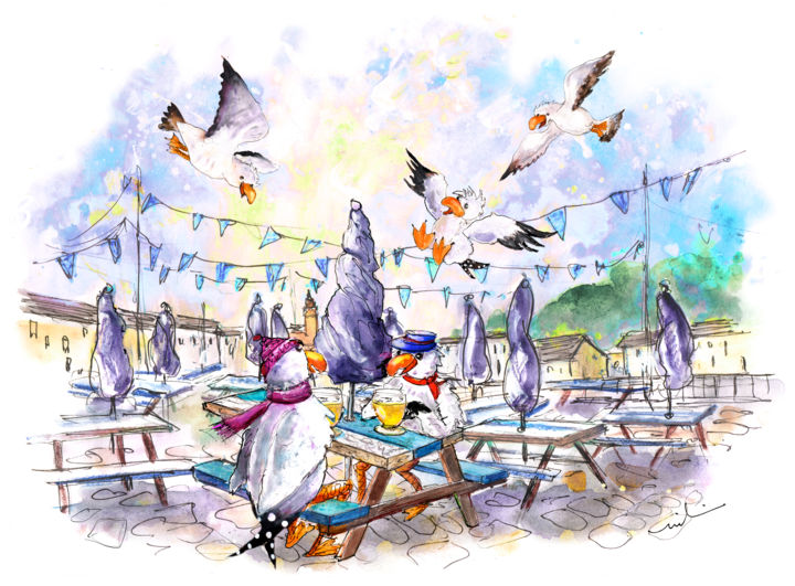 The Seagulls Of Porthleven 05 - Painting ©2018 by Miki de Goodaboom -                                                                                            Expressionism, Illustration, Architecture, Birds, Humor, Travel, England, Cornwall, Porthleven, birs, birds, seagull, seagullas, humour, whimsical, harbour, cafe, townscape, pubs, seagulls sitting at cafe, The Harbour Inn