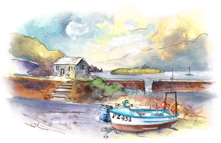 Church Cove On Lizard Peninsula 01 - Painting ©2018 by Miki de Goodaboom -                                                                                Expressionism, Impressionism, Architecture, Boat, Seascape, England, Cornwall, Lizard Peninsula, Church Cove, landscape, seascape, boat, boats, houses, cottages