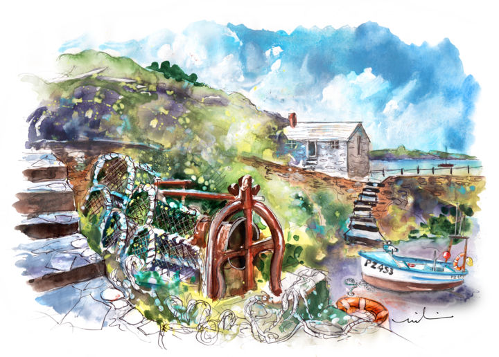 Church Cove On Lizard Peninsula 03 - Painting ©2018 by Miki de Goodaboom -                                                                                Expressionism, Impressionism, Architecture, Boat, Seascape, England, Cornwall, Lizard Peninsula, Church Cove, landscape, seascape, cottage, cottages, boats