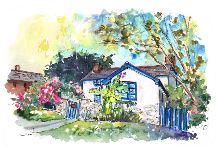 Cottage On Lizard Peninsula - Painting ©2018 by Miki de Goodaboom -                                                                                                        Expressionism, Impressionism, Architecture, Landscape, Nature, Travel, Tree, England, Cornwall, Lizard Peninsula, cottage, cottages, beautiful cottage, landscape, trees, flowers