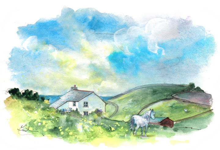 Church Cove On Lizard Peninsula 04 - Painting ©2018 by Miki de Goodaboom -                                                                            Expressionism, Impressionism, Animals, Horses, Landscape