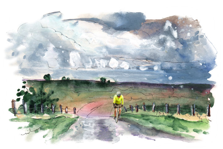 Cycling On The North Yorkshire Moors 01 - Painting,  5.9x8.3 in ©2017 by Miki de Goodaboom -                                                                    Expressionism, Impressionism, Landscape, Sports, England, North Yorkshire, moor, moors, North Yorkshire Moors, sports, cycling, bike riding, storm, landscape