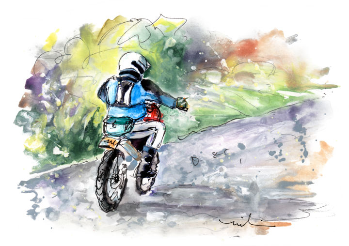 Cross Country On The North Yorkshire Moors - Painting,  5.9x7.9 in ©2018 by Miki de Goodaboom -                                                                    Expressionism, Impressionism, Landscape, Sports, england, North Yorkshire, moors, biker, cross country