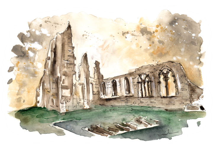 Whitby Abbey 01 - Painting,  11.8x15.8 in ©2017 by Miki de Goodaboom -                                                                    Expressionism, Impressionism, Animals, Landscape, travel, England, North Yorkshire, Whitby, Abbey
