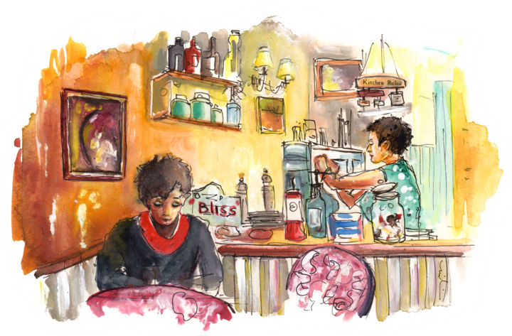 The Coffee Shop In Whitby - © 2016 travel, art, sketch, England, Yorkshire, North Yorkshire, Whitby, harbour town, cafe, coffee shop, people at cafe Online Artworks