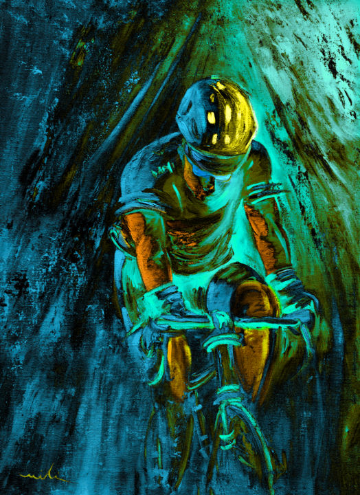The Tour On Fire 03 - Painting,  27.6x19.7 in, ©2019 by Miki de Goodaboom -                                                                                                                                                                                                                                                                                                                                                                                                          Expressionism, expressionism-591, Sports, sport, sports, sport art, cycling, Tour de France