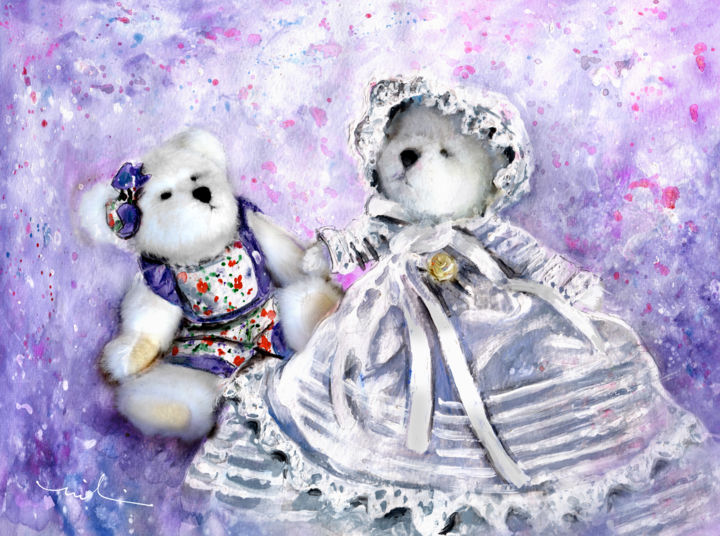 Lily Lavender De Boomerann And Christine De Lafontaine - Painting,  8.3x11.8 in, ©2017 by Miki de Goodaboom -                                                                                                                                                                                                                                                                                                                                                                                                          Figurative, figurative-594, Still life, bears, teddy bears, Boyds, Boyds bears, girl bears