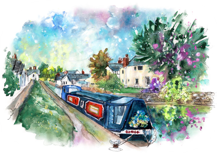 Brecon 02 - Painting,  8.3x11.8 in, ©2017 by Miki de Goodaboom -                                                                                                                                                                                                                                                                                                                                                                                                                                                                                                                                                                                                                                                                                                                                                                          Expressionism, expressionism-591, Boat, Landscape, travel, art, sketch, UK, Wales, Brecon, landscape, townscape, canal, narrow boat, boats, houses