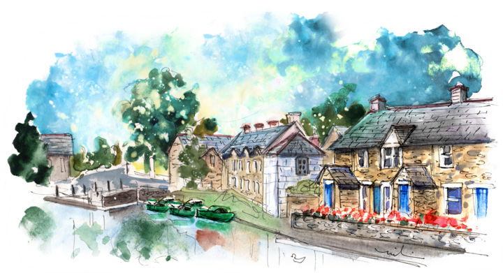 Brecon 03 - Painting,  5.9x7.9 in, ©2017 by Miki de Goodaboom -                                                                                                                                                                                                                                                                                                                                                                                                                                                                                                                                                                                                                                                                                  Expressionism, expressionism-591, Architecture, Boat, Places, travel, art, sketch, UK, houses, boats, Wales, Brecon, landscape