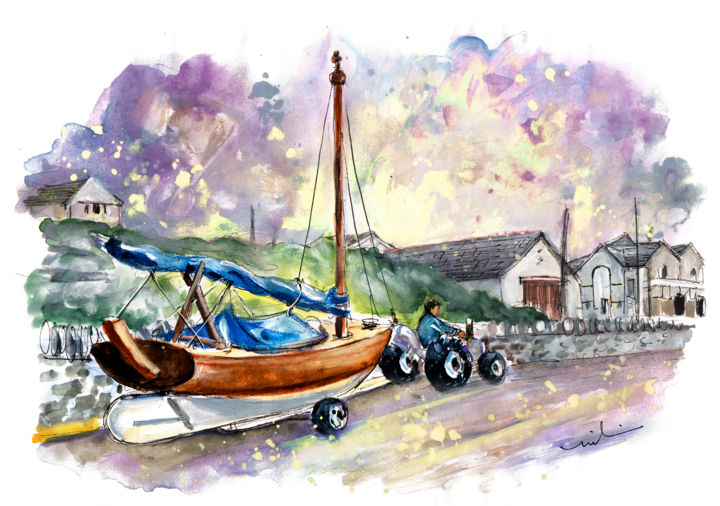 Anglesey 04 - Painting,  8.3x11.8 in, ©2017 by Miki de Goodaboom -                                                                                                                                                                                                                                                                                                                                                                                                                                                                                                                                                                                                                                                                                                                              Expressionism, expressionism-591, Boat, Landscape, Transportation, travel, sketch, UK, Wales, Anglesey, landscape, boat, tractor, boat on tractor, beach