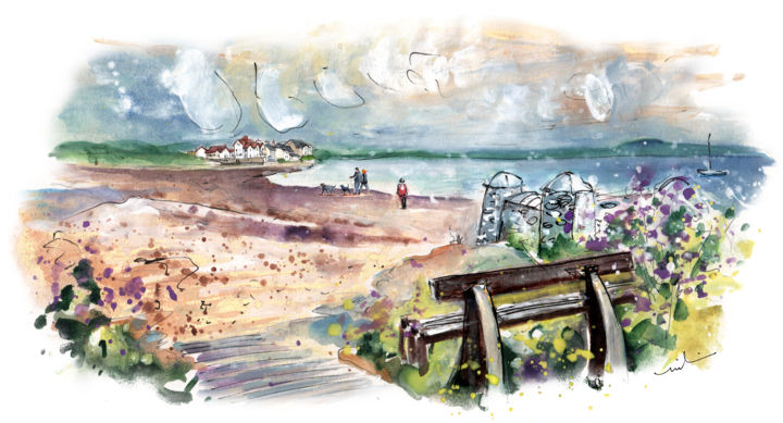 Anglesey 06 - Painting,  5.9x11.8 in, ©2017 by Miki de Goodaboom -                                                                                                                                                                                                                                                                                                                                                                                                                                                                                                                                                                                                                                                                                  Expressionism, expressionism-591, Beach, Landscape, travel, UK, Wales, Anglesey, beach, beaches, landscpe, seascape, people with dogs, bench