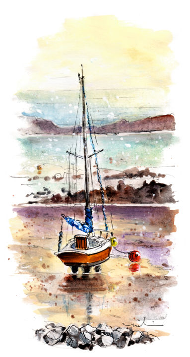 A Boat On Anglesey 01 - Painting,  12.2x5.9 in, ©2019 by Miki de Goodaboom -                                                                                                                                                                                                                                                                                                                                                                                                                                                                                                                                                                                          Expressionism, expressionism-591, Boat, travel, art, sketch, UK, Wales, Anglesey, Welsh island, seascape, boats