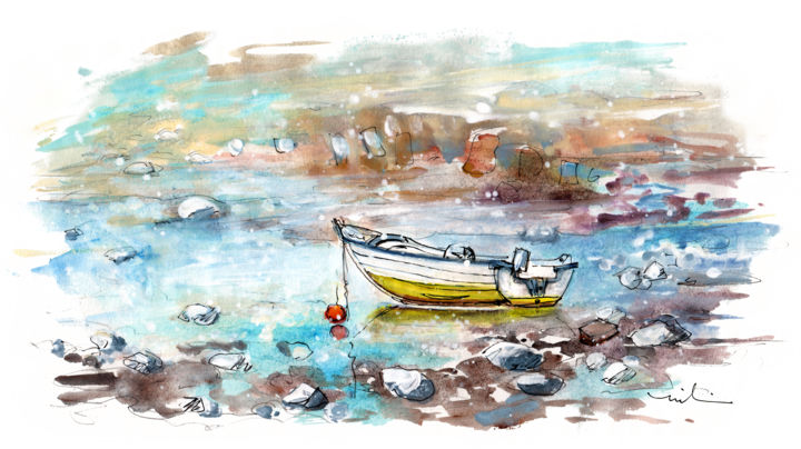 A Boat On Anglesey 02 - Painting,  5.9x11.8 in, ©2017 by Miki de Goodaboom -                                                                                                                                                                                                                                                                                                                                                                                                                                                                                                                                                                                          Expressionism, expressionism-591, Boat, travel, art, sketch, UK, Wales, Welsh Island, Anglesey, boats, seascape