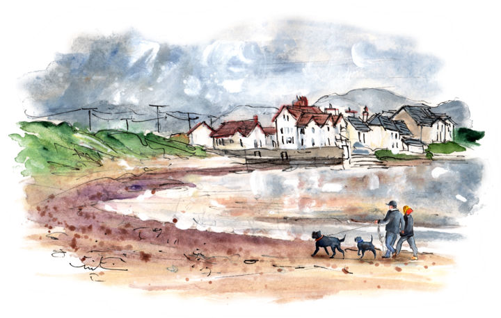 Walking The Dogs On Anglesey - Painting,  5.9x11.8 in, ©2017 by Miki de Goodaboom -                                                                                                                                                                                                                                                                                                                                                                                                                                                                                                                                                                                                                                                                                                                                                                                                                                                                  Expressionism, expressionism-591, Animals, Seascape, travel, art, sketch, UK, Wales, Welsh Island, Anglesey, beaches, seascape, landscape, people, dogs, beach, people walking dogs
