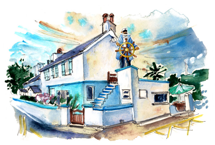 Cemaes Bay 01 - Painting,  5.9x7.9 in, ©2017 by Miki de Goodaboom -                                                                                                                                                                                                                                                                                                                                                                                                                                                                                                                                                                                                                                                                                                                              Expressionism, expressionism-591, Architecture, travel, art, UK, Wales, Welsh Island, Anglesey, townscapes, cottages, Cemaes Bay, boat, captain, pretty village