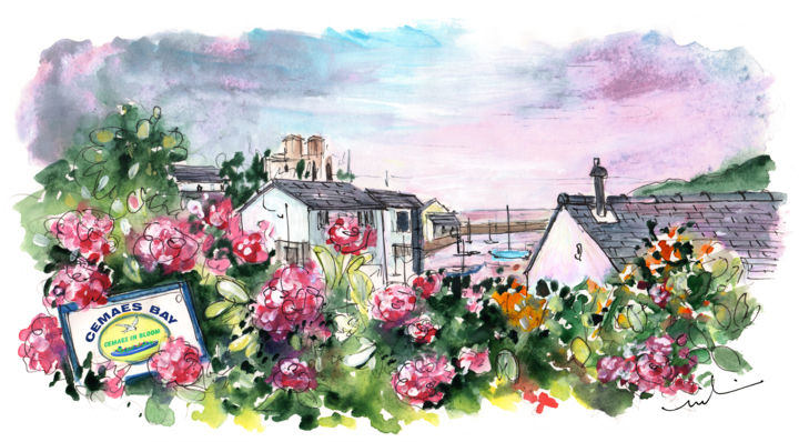 Cemaes Bay 02 - Painting,  5.9x11.8 in, ©207 by Miki de Goodaboom -                                                                                                                                                                                                                                                                                                                                                                                                                                                                                                                                                                                                                                                                                                                                                                          Expressionism, expressionism-591, Botanic, Landscape, Seascape, travel, art, UK, Wales, Anglesey, Welsh Island, Cemaes Bay, pretty village, flowers, cottages, seascape