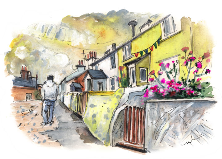 Cemaes Bay 05 - Painting,  5.9x7.9 in, ©2015 by Miki de Goodaboom -                                                                                                                                                                                                                                                                                                                                                                                                                                                                                                                                                                                          Expressionism, expressionism-591, Architecture, travel, UK, Wales, Welsh Island, Cemaes Bay, pretty village, street, beautiful cottages, yellow house