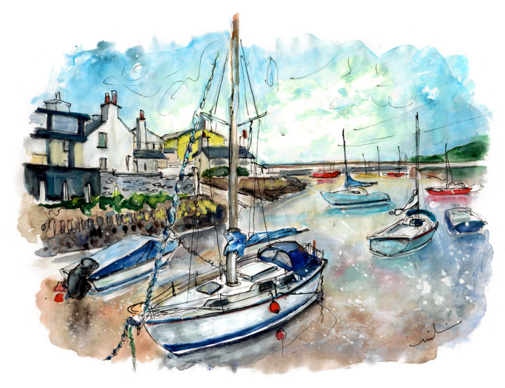 Cemaes Bay 10 - © 2017 travel, art, sketch, UK, Wales, Welsh Island, Anglesey, Cemaes Bay, seascape, harbour, boats, cottages Online Artworks