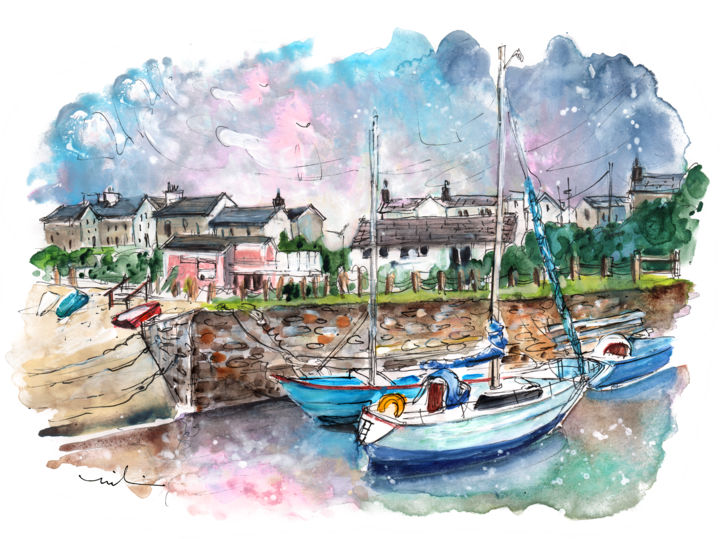 Cemaes Bay 11 - Painting,  8.3x11.8 in, ©2017 by Miki de Goodaboom -                                                                                                                                                                                                                                                                                                                                                                                                                                                                                                                                                                                                                                                                                  Expressionism, expressionism-591, Boat, Seascape, travel, art, sketch, UK, Wales, Welsh Island, Cemaes Bay, harbour, boats, seascape