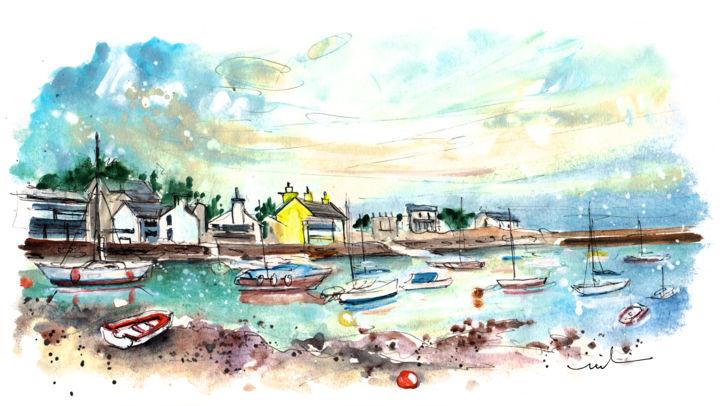 Cemaes Bay 12 - Painting,  5.9x11.8 in, ©2017 by Miki de Goodaboom -                                                                                                                                                                                                                                                                                                                                                                                                                                                                                                                                                                                                                                                                                                                                                                          Expressionism, expressionism-591, Boat, Seascape, travel, art, sketch, UK, Wales, Welsh Island, Anglesey, Cemaes Bay, harbour, boats, cottages, panoramic view