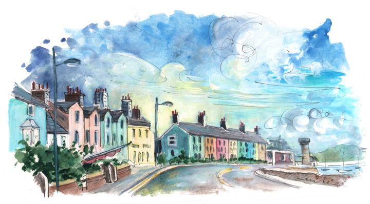 Beaumaris 01 - © 2017 travel, art, sketh, UK, Wales, Anglesey, Welsh Island, beaumaris, street, coloured houses, townscape, seascape Online Artworks