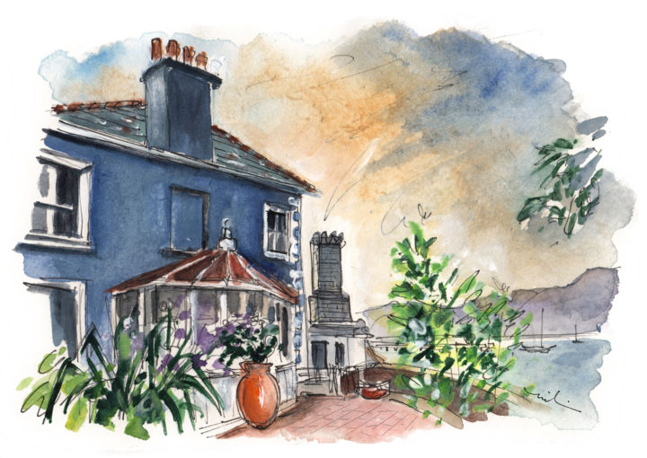 Beaumaris 05 - © 2017 travel, art, sketch, UK, Wales, Welsh Island, Anglesey, Beaumaris, cottages, plants, skies Online Artworks