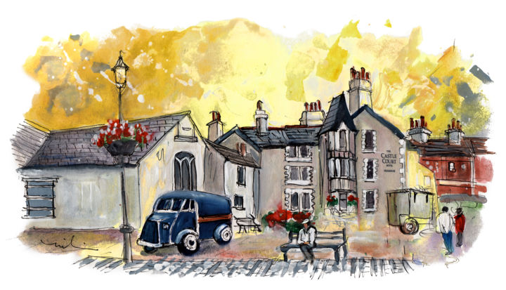 Beaumaris 08 - Painting,  8.3x11.8 in, ©2017 by Miki de Goodaboom -                                                                                                                                                                                                                                                                                                                                                                                                                                                                                                                                                                                                                                                                                                                              Expressionism, expressionism-591, Architecture, Car, travel, art, sketch, UK, Wales, Welsh Island, Anglesey, Beaumaris, van, vintage van, the castle court hotel
