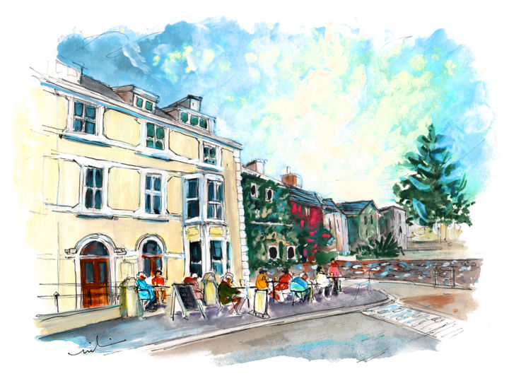 Beaumaris 09 - © 2017 travel, art, sketch, UK, Wales, Welsh Island, Anglesey, Beaumaris, townscape, square, beautiful cafe, people Online Artworks