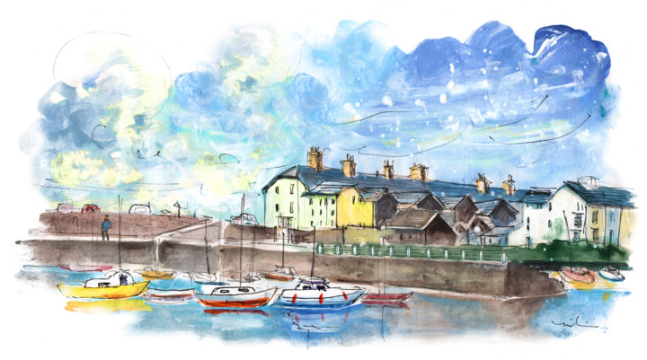 Aberystwyth 01 - Painting,  5.9x11.8 in, ©2017 by Miki de Goodaboom -                                                                                                                                                                                                                                                                                                                                                                                                                                                      Expressionism, expressionism-591, Boat, Seascape, UK, Wales, Aberystwyth, seascape, boats
