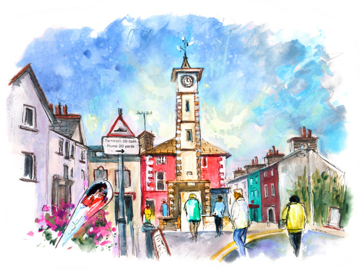 Aberystwyth 02 - Painting,  8.3x11.8 in, ©2017 by Miki de Goodaboom -                                                                                                                                                                                                                                                                                                                                                                                                                                                                                                                                              Expressionism, expressionism-591, Architecture, People, UK, Wales, Aberystwyth, townscape, houses, church, people