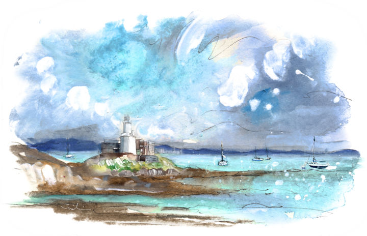 Mumbles 03 - © 2017 travel, art, sketch, UK, Wales, South Wales, Mumbles, seascape, lighthouse, sea, boats, Mumbles lighthouse Online Artworks
