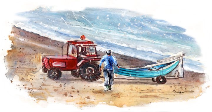 Fisherman Boat And Tractor In Runswick Bay - Painting,  5.9x11.8 in, ©2016 by Miki de Goodaboom -                                                                                                                                                                                                                                                                                                                                                                                                                                                                                                                                                                                                                                                                                  Figurative, figurative-594, Boat, Seascape, UK, Yorkshire, North Yorkshire, Runswick Bay, coats, seascape, boat, tractor, man, fisherman