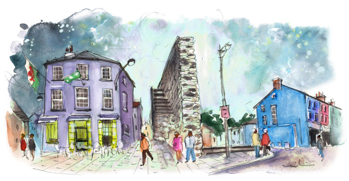 Caernarfon 04 - Painting,  5.9x11.8 in, ©2017 by Miki de Goodaboom -                                                                                                                                                                                                                                                                                                                                                                                                                                                                                                                                                                                                                                                                                                                              Expressionism, expressionism-591, Architecture, People, Travel, travel art, UK, Wales, North Wales, Caernarfon, townscape, houses, monuments, square, castle