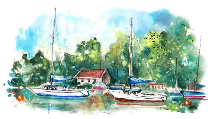 Caernarfon 08 - Painting,  5.9x11.8 in, ©2017 by Miki de Goodaboom -                                                                                                                                                                                                                                                                                                                                                                                                                                                                                                                                                                                                                                                                                                                              Expressionism, expressionism-591, Architecture, Seascape, Travel art, sketch, UK, Wales, North Wales, Caernarfon, seascape, boats, trees, nature, landscape
