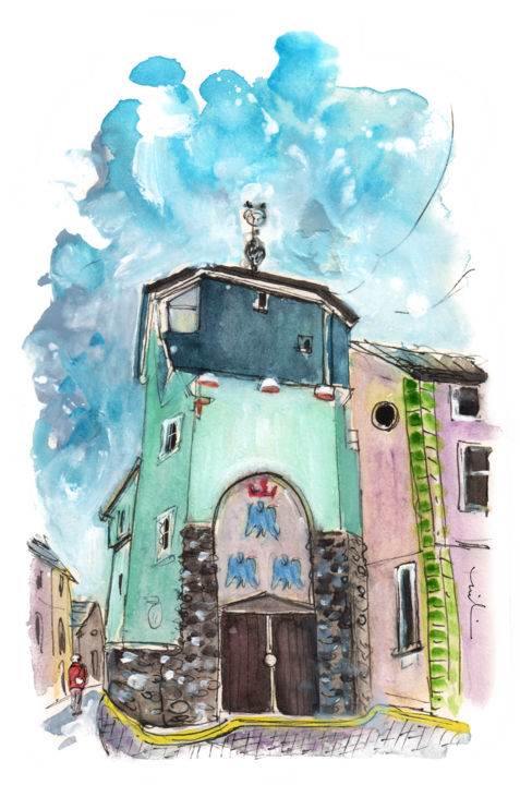 Caernarfon 11 - Painting,  8.3x5.9 in, ©2017 by Miki de Goodaboom -                                                                                                                                                                                                                                                                                                                                                                                                                                                                                                                                              Expressionism, expressionism-591, Architecture, travel art, UK, Wales, North Wales, townscape, Caernarfon, street, buildings