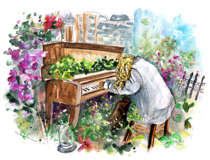 The Pianist From Machynlleth - Painting,  8.3x11.8 in, ©2017 by Miki de Goodaboom -                                                                                                                                                                                                                                                                                                                                                                                                                                                                                                                                                                                                                                                                                                                                                                                                                      Expressionism, expressionism-591, Architecture, Botanic, Music, travel art, UK, United Kingdom, Wales, Machynlleth, house, garden, pianist, scarecrow, music, flowers, plants
