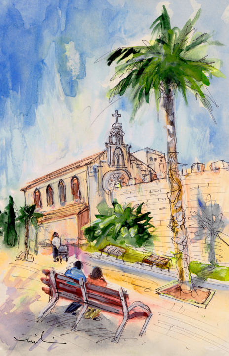 Alcudia Church In Majorca - Painting,  8.3x5.9 in, ©2015 by Miki de Goodaboom -                                                                                                                                                                                                                                                                                                                                                                                                                                                                                                                                                                                                                                      Expressionism, expressionism-591, Architecture, People, Places, travel art, Spain, Balearic islands, Baleares, Alcudia, palm trees, church, people on bench