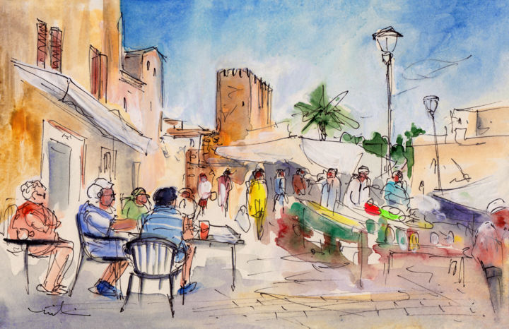 Alcudia Market In Majorca 01 - Painting,  5.9x8.3 in, ©2015 by Miki de Goodaboom -                                                                                                                                                                                                                                                                                                                                                                                                                                                                                                                                                                                                                                                                                                                              Expressionism, expressionism-591, Architecture, People, Places, travel art, Spain, Mallorca, Majorca, Balearic Islands, Baleares, Alcudia, market, people, cafes