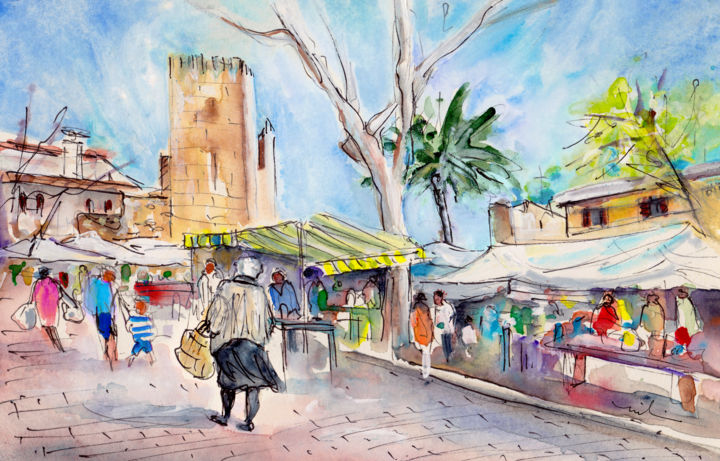 Alcudia Market In Majorca 02 - Painting,  8.3x11.8 in, ©2015 by Miki De Goodaboom -                                                                                                                                                                                                                                                                                                                                                                                                                                                                                                                                                                                                                                                                                                                                                                                                                                                                  Expressionism, expressionism-591, Architecture, People, Places, travel art, Spain, Balearic Islands, Baleares, Mallorca, Majorca, market, stands, people, old woman, tower, castle, umbrellas