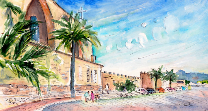 Alcudia Panoramic 01 In Majorca - Painting,  5.9x11.8 in, ©2015 by Miki de Goodaboom -                                                                                                                                                                                                                                                                                                                                                                                                                                                                                                                                                                                                                                                                                  Expressionism, expressionism-591, Architecture, Botanic, Places, travel art, spain, Majorca, Mallorca, architecture, Alcudia, palm trees, castle, walls