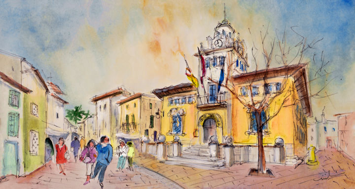 Alcudia Street In Majorca - Painting,  5.9x11.8 in, ©2015 by Miki De Goodaboom -                                                                                                                                                                                                                                                                                                                                                                                                                                                                                                                                                                                                                                                                                                                              Expressionism, expressionism-591, Architecture, People, Places, travel art, Spain, Balearic islands, Baleares, Mallorca, Majorca, Alcudia, street, people, casa consistorial