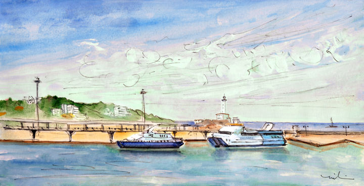 Balearia Ferries In Ibiza - Painting,  5.9x11.8 in, ©2015 by Miki de Goodaboom -                                                                                                                                                                                                                                                                                                                                                                                                                                                                                                                                                                                                                                                                                                                                                                          Expressionism, expressionism-591, Boat, Seascape, travel art, spain, Balearic, Balearic islands, Ibiza, ferries, Balearia, boats, seascape, landscape, skies, lighthouse