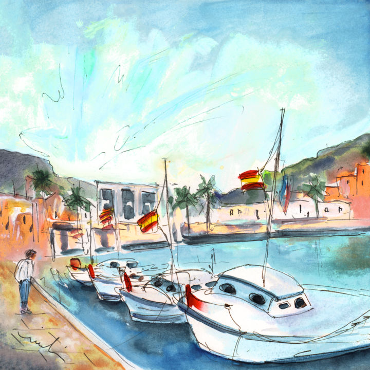 Boats In Majorca - Painting,  8.3x8.3 in, ©2015 by Miki de Goodaboom -                                                                                                                                                                                                                                                                                                                                                                                                                                                                                                                                                                                                                                      Expressionism, expressionism-591, Boat, Seascape, travel art, Spain, Balearic islands, Majorca, Mallorca, Baleares, boats, fisherman boats, harbour