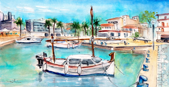 Harbour Of Cala Ratjada 02 - Painting,  5.9x11.8x0.4 in, ©2015 by Miki De Goodaboom -                                                                                                                                                                                                                                                                                                                                                                                                                                                                                                                                                                                                                                                                                                                                                                                                                                                                  Expressionism, expressionism-591, Boat, Seascape, travel art, Spain, Balearic islands, Baleares, Cala Ratjada, harbour, seascape, boats, fisherman boats, houses, sea, skies, Mallorca, Majorca