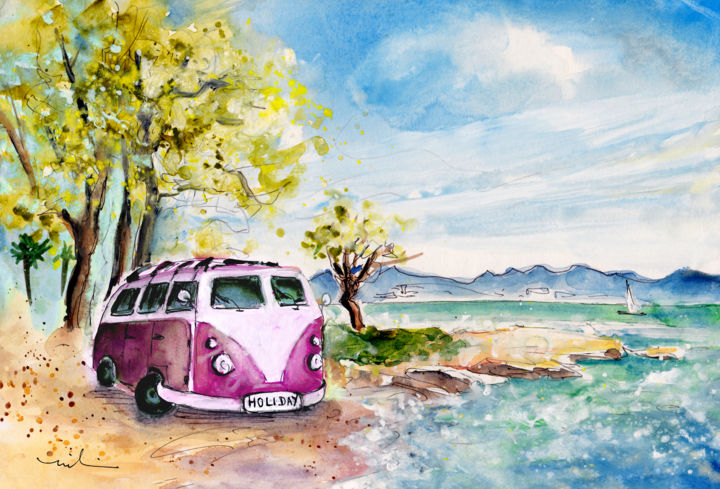 Holiday In Cala Ratjada - Painting,  8.3x11.8 in, ©2015 by Miki de Goodaboom -                                                                                                                                                                                                                                                                                                                                                                                                                                                                                                                                                                                                                                                                                                                                                                          Expressionism, expressionism-591, Car, Landscape, Seascape, Transportation, travel art, Spain, Balearic islands, Mallorca, Cala ratjada, beach, VW, VW camper on beach, holiday, trees