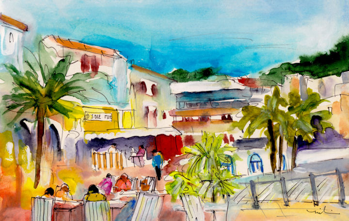 Cala Ratjada Town - Painting,  5.9x8.3x0.4 in, ©2015 by Miki De Goodaboom -                                                                                                                                                                                                                                                                                                                                                                                                                                                                                                                                                                                                                                                                                  Figurative, figurative-594, Architecture, People, travel art, Spain, Balearic islands, Baleares, Cala Ratjada, town, townscape, houses, cafes, people