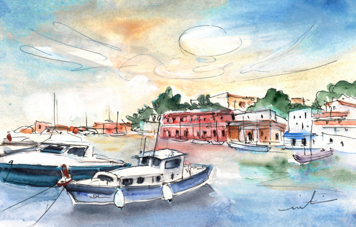 Boat Painting, gouache, expressionism, artwork by Miki De Goodaboom