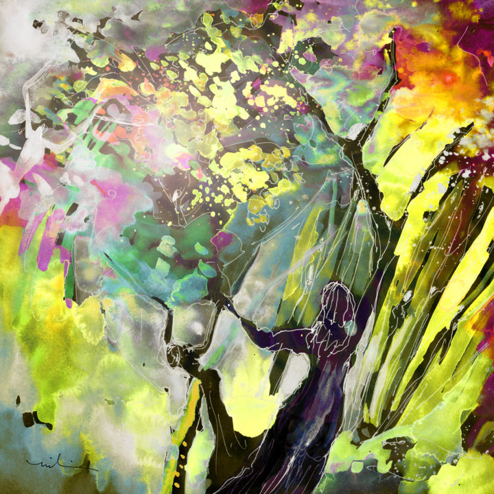 Grace under Pressure - Painting, ©2008 by Miki De Goodaboom -                                                                                                                                                                                                                                                                                                                                                                                                                                                                                                                                                                                                                                                                                                                          Abstract, abstract-570, fantasy, watercolour, ink, landscapes, figures, trees, tree people, women, tree women, celebration, spring, impressionism, expressionism